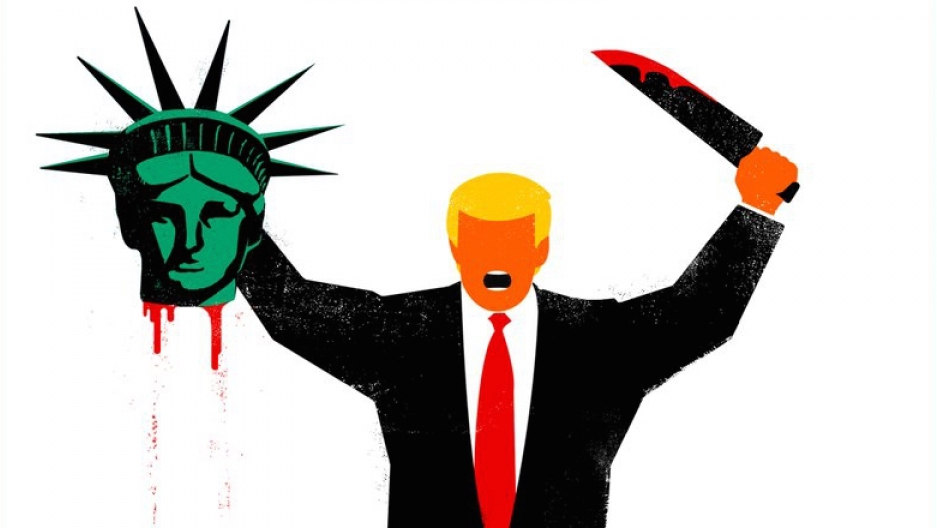 cuban american artist edel rodriguez equates trump to a terrorist on rh pri org statue of liberty coloring statue of liberty lego marvel