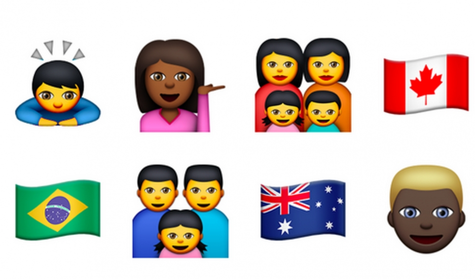 A sample of the updated emojis seen in the beta versions of Apple OS X 10.10.3 and iOS 8.3 released to developers.