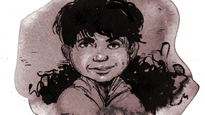 Molly Crabapple's portrait of Fatima Meghlaj, age two, who died in a bombing of her hometown in Syria