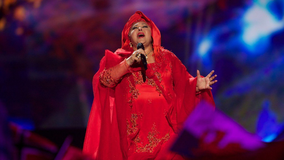 "Esma Redžepova representing Macedonia with the song ""Pred da se razdeni""  during a dress rehearsal for the Eurovision Song Contest 2013 in Malmö."