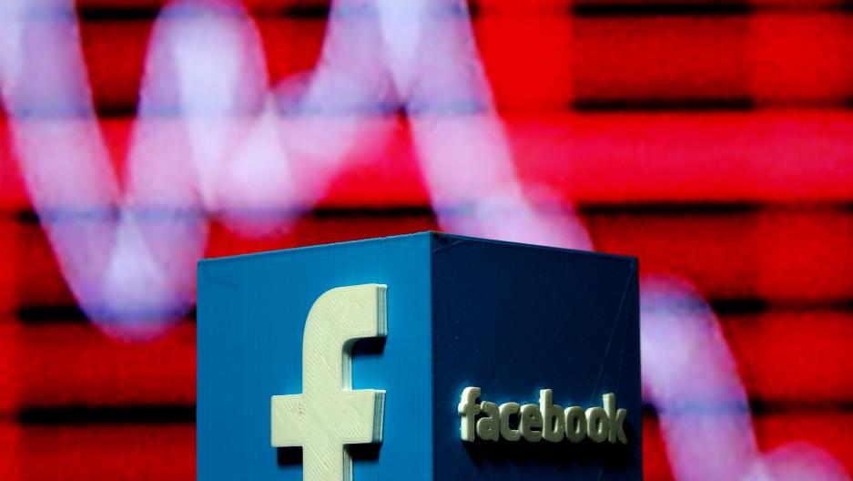A 3-D printed Facebook logo