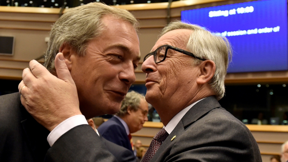 Jean-Claude Juncker welcomes Nigel Farage