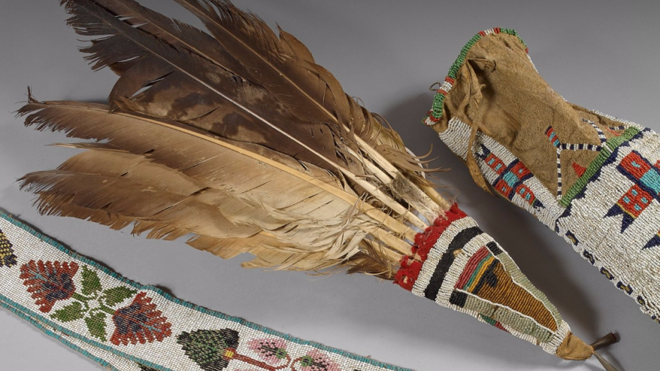 19th century period Native American Feathers,leather,and beads
