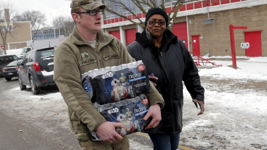 Michigan National Guard helping with water distribution