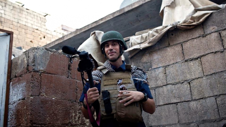James Foley, reporting in Aleppo, Syria, soon before he was kidnapped in 2012.