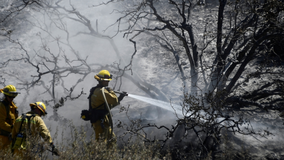 Firefighters battle the so-called Blue Cut Fire