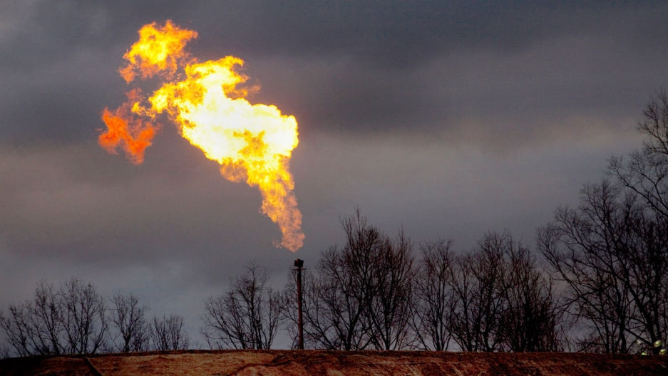 A gas flare burns at a fracking site in rural Bradford County, Pennsylvania.