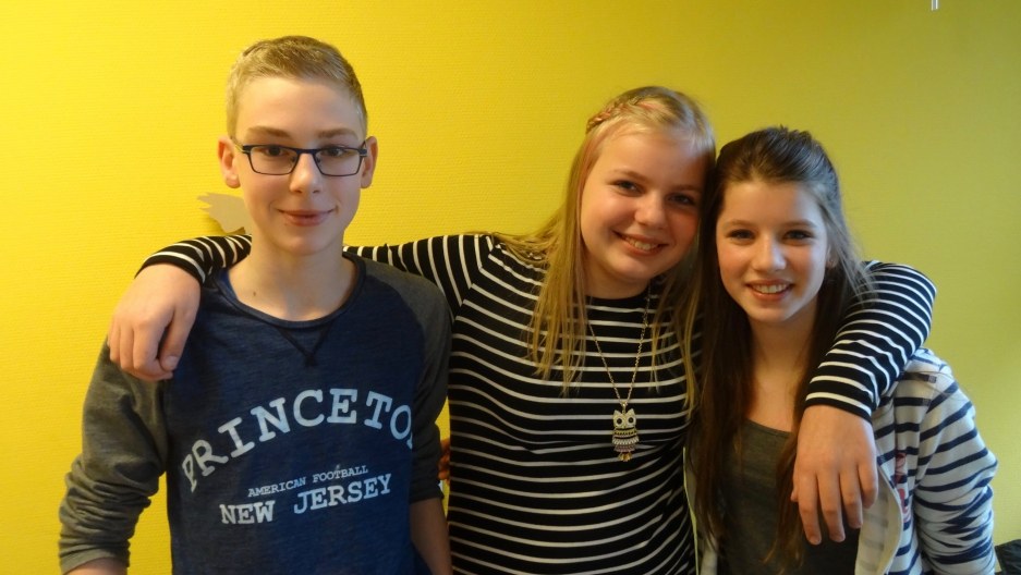 Students Andries Jacobi, Nienke Kooi and Fardau de Vries attend a trilingual (Dutch, Frisian, English) public school in Koudum in the Dutch province of Friesland.