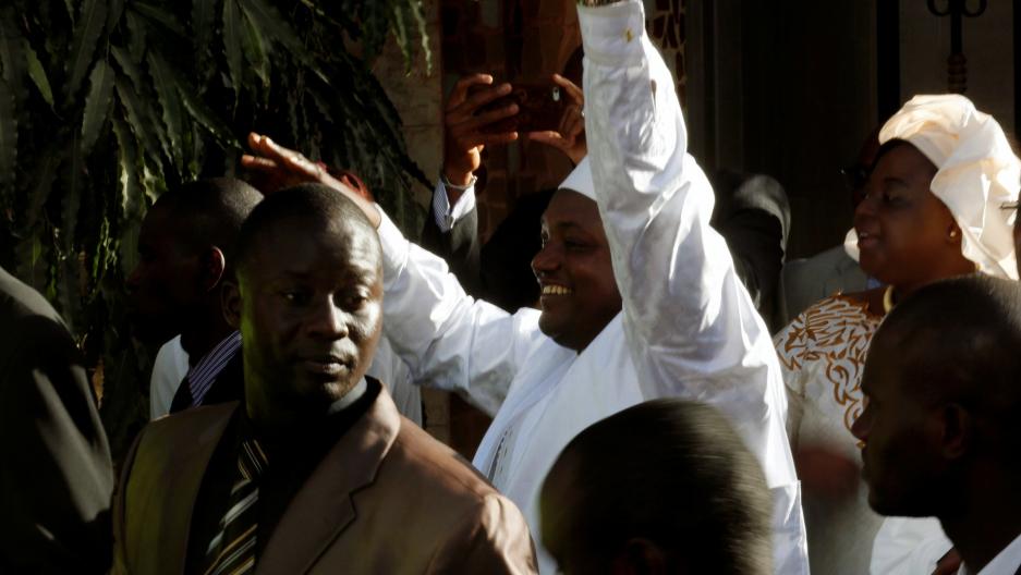 Gambia's President-elect Adama Barrow waves