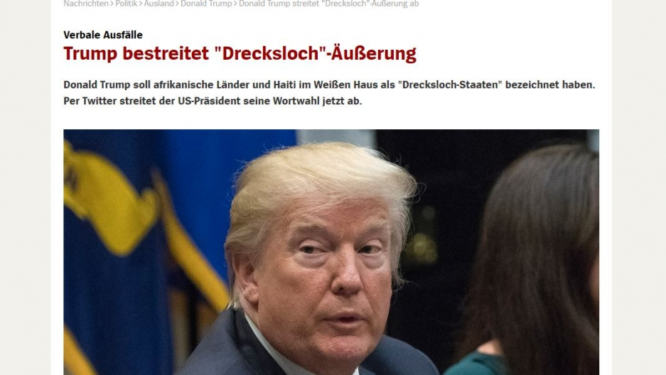 A screenshot of the headline from Germany's Speigel.
