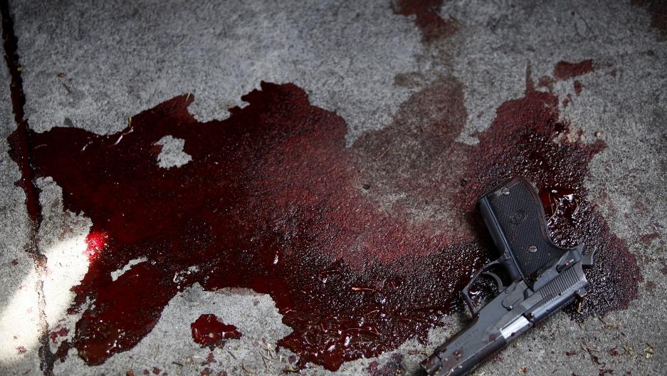 Gun in blood