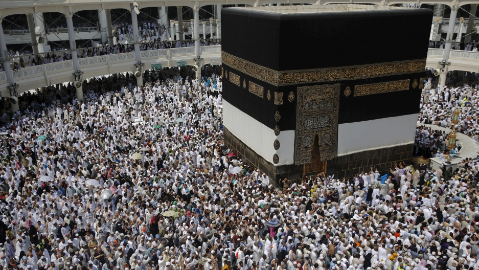 Muslim pilgrims pray around the holy Kaaba at the Grand Mosque ahead of the annual Hajj pilgrimage in Mecca.