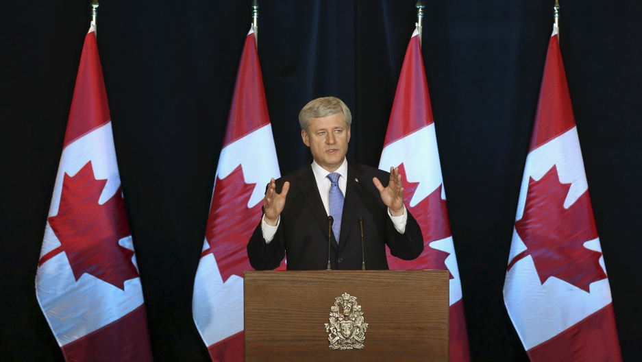 Canada's Prime Minister Stephen Harper speaks during a news conference in Ottawa, Canada on October 5, 2015.