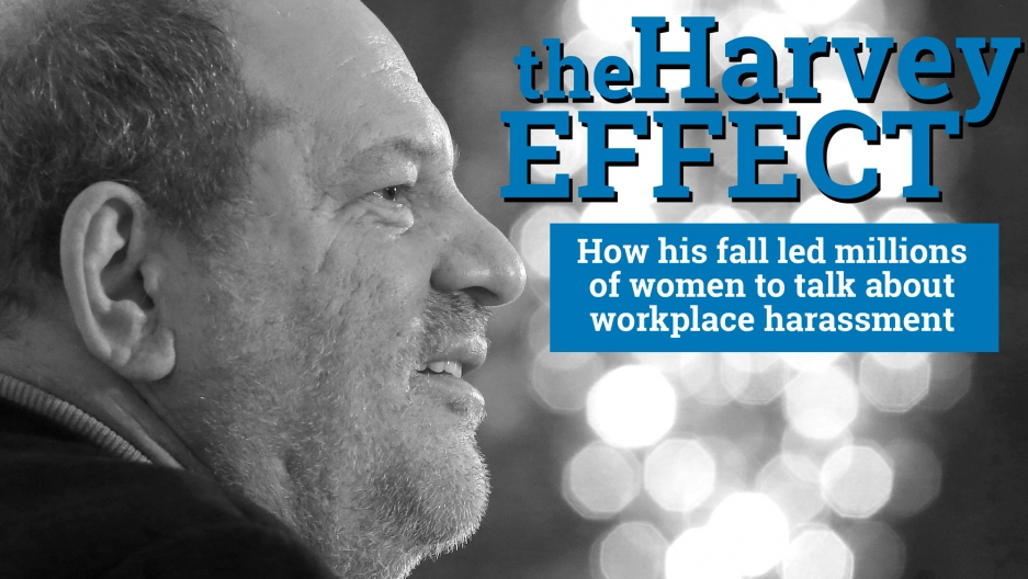 "This is a black and white image of a profile of Harvey Weinstein from 2012. In the space next to his face, text says ""The Harvey Effect: How his fall led millions of women to talk about workplace harassment."""