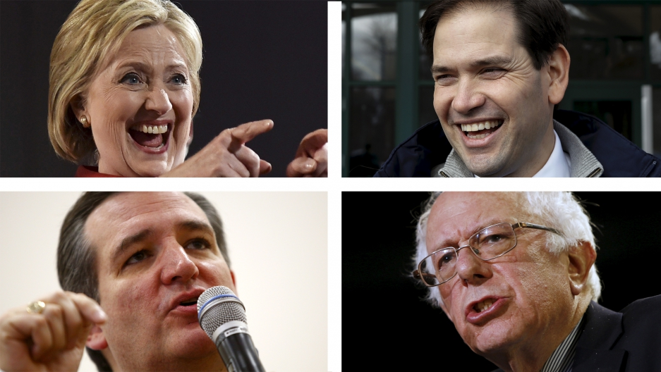 Clockwise from top left, any of these four could be the US' first female, Latino, Jewish or Latino president.