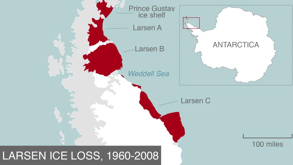 Total ice loss on the Larsen ice shelf, 1960-2008