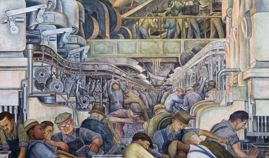 Mexican artist diego rivera 39 s painting sings the praises for Detroit mural factory