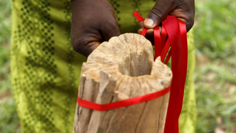 Red ribbons are tied around a tree trunk on the eve of the second anniversary of the abduction of the Chibok school girls in Abuja, Nigeria April 13, 2016.