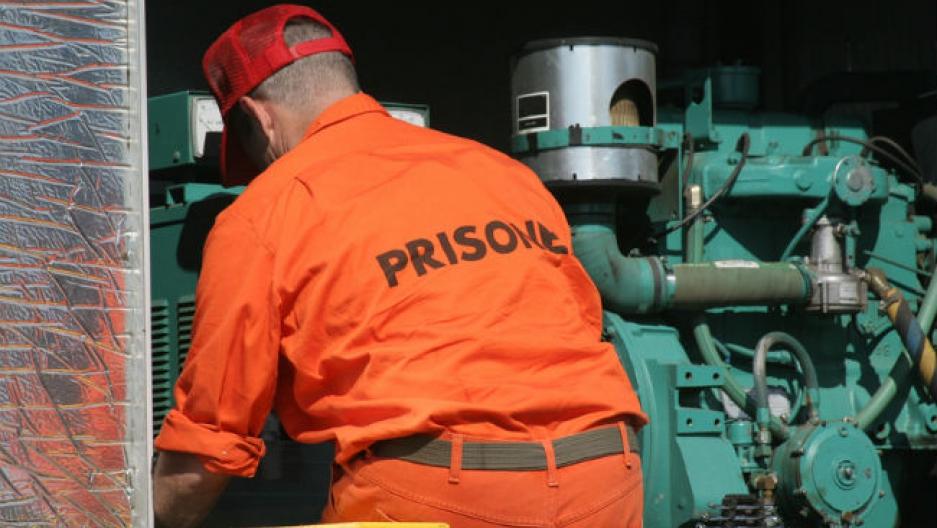 Prisoner working.