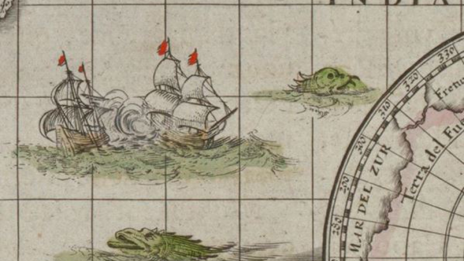 "A map monster snacks on something in the Indian Ocean. Willem Janszoon Blaeu's world map ""Nova totius terrarum orbis geographica ac hydrographic tabula"" was first published in 1606 during the Golden Age of Dutch Cartography."