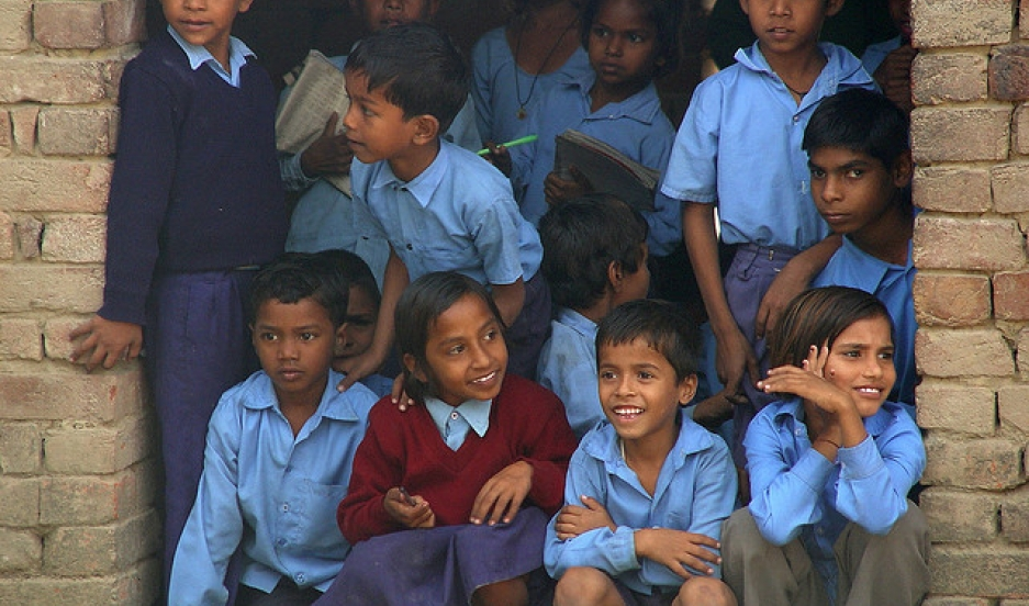 Children at school in India.