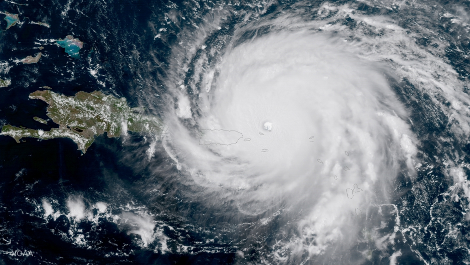 Hurricane Irma, a record Category 5 storm, is seen approaching Puerto Rico in this NOAA National Weather Service National Hurricane Center satellite