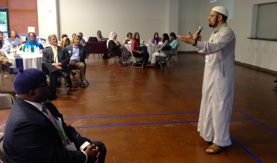 "Imam Islam Mossaad speaks at a recent ""Ramadan Open House"" event at the North Austin Muslim Community Center in the Texas capital."