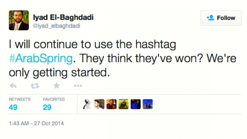 A tweet from Iyad el-Baghdadi, a prominent online activist who's now seeking asylum in Norway.