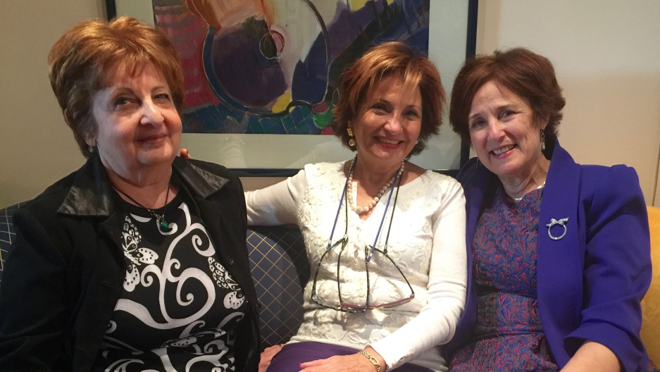 Elsie Solomon, Gladys Kattan and Lisette Shashoua at Lisette's home in Montreal.