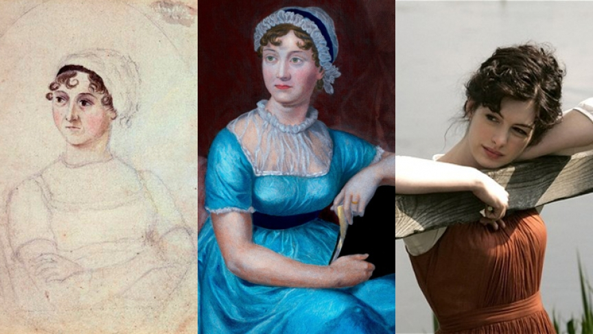 (L) Sketch of Jane Austen in 1810, (C) a 1870 portrait of Austen based on the 1810 sketch and (R) Anne Hathaway as Jane Austen