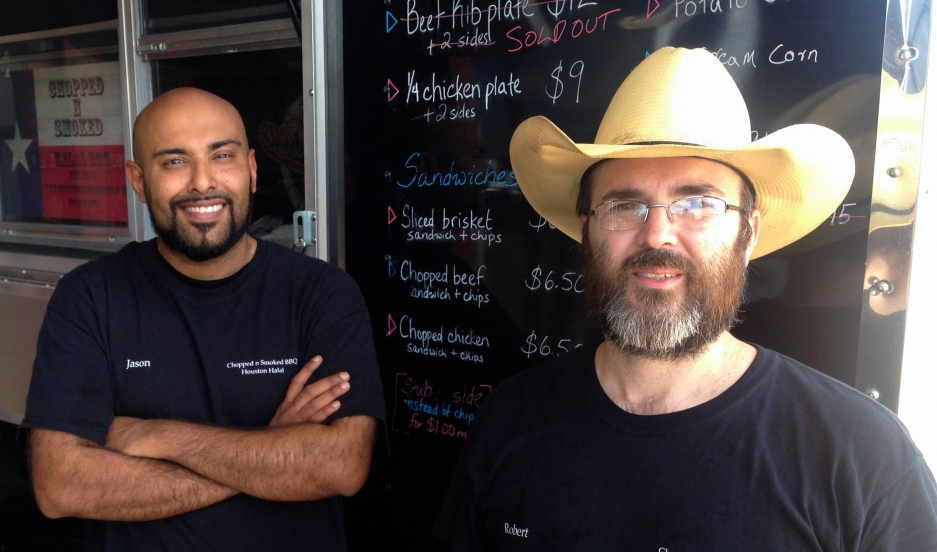 Jason Bones (left) and Robert West are co-owners of Chopped n Smoked halal Texas BBQ, a food truck business based in Sugar Land, Texas.