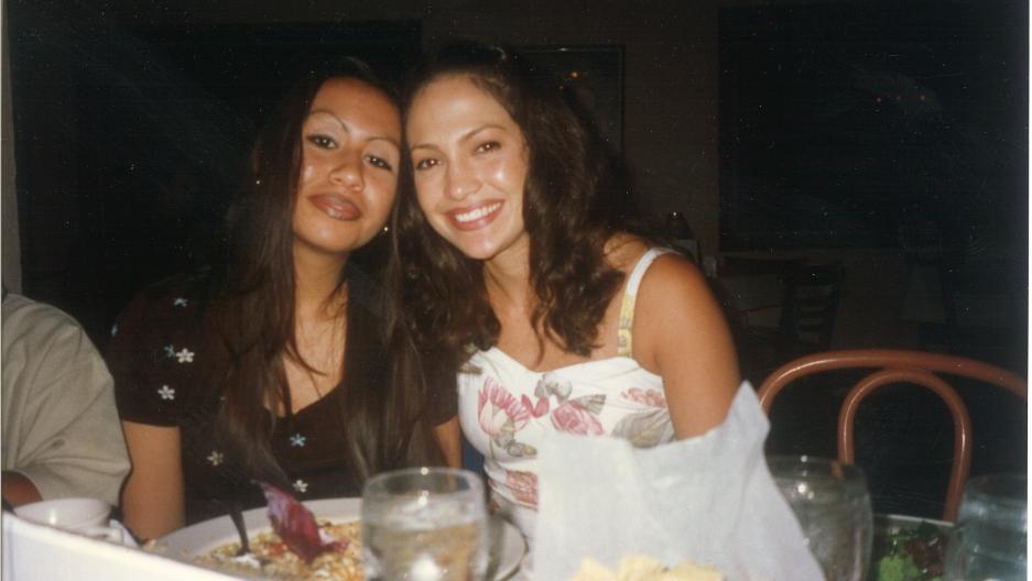 Tonantzin Esparza (L) convinced her father, movie producer Moctesuma Esparza to bring Selena's story to the screen.  Jennifer Lopez portrayed the Tejano singer.