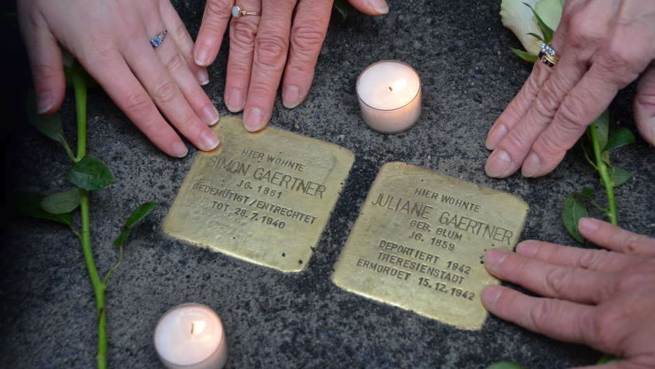 Stolpersteins or stumblestones placed in Mainz, Germany on October 15th, 2015 to honor Juliane and Simon Gaertner. Juliane was deported to Theresienstadt where she died in 1942.