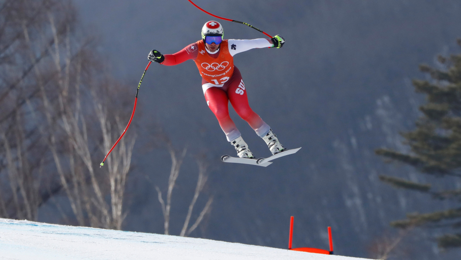 Beat Feuz of Switzerland takes a jump during the second training run for the men's downhill of the Pyeongchang 2018 Winter Olympic Games at the Jeongseon Alpine Centre in Pyeongchang, South Korea, Feb. 9, 2018.