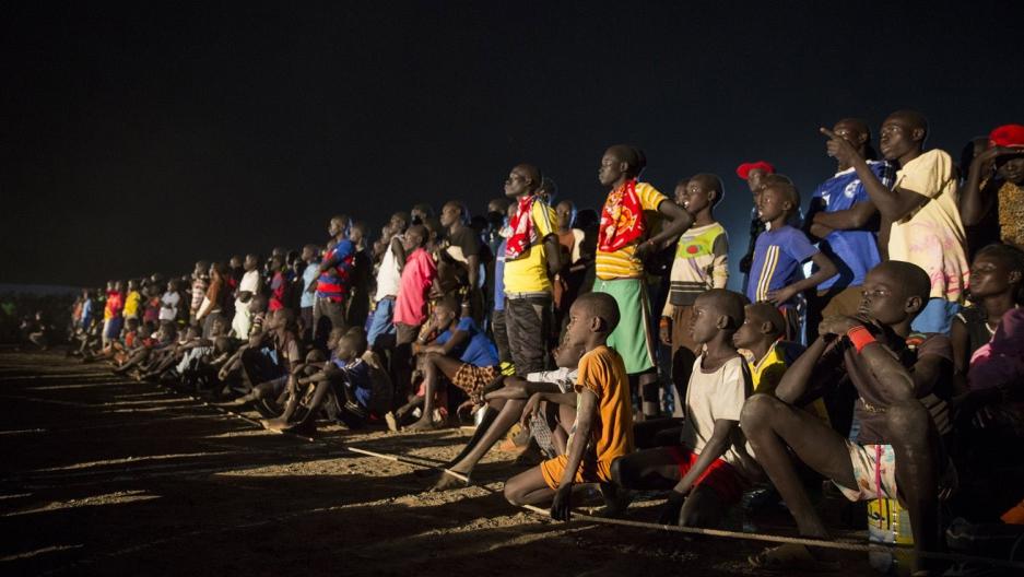 Refugees at Kakuma camp in Kenya watch the Olympics.