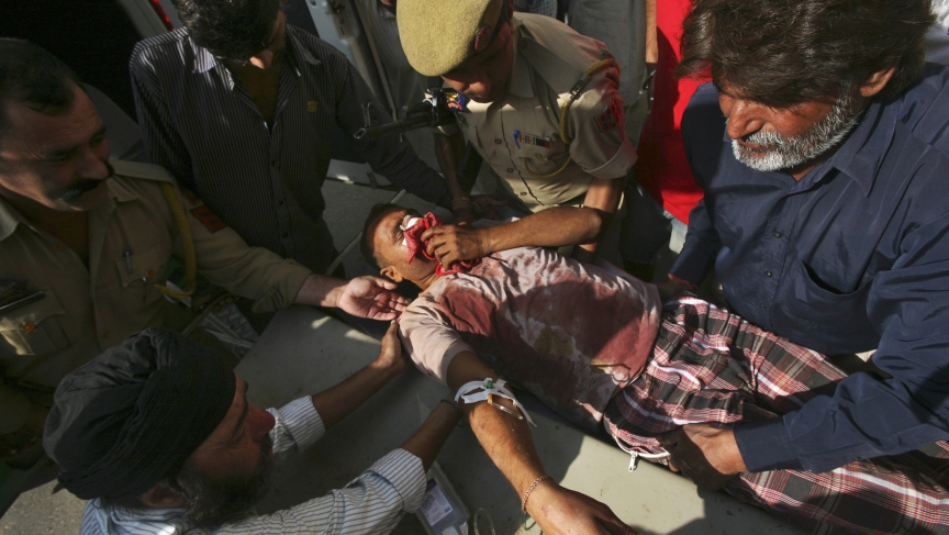 Wounded man in India