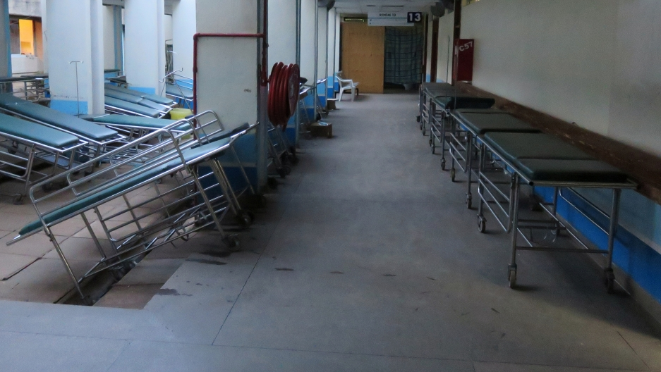 Medical stretchers are seen abandoned along the corridors at the main hospital during a strike
