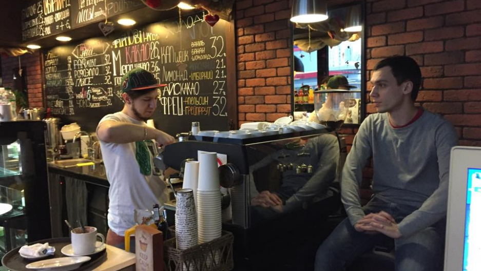 Baristas at Cup&Cake discuss the potential cease fire between Ukrainian forces and separatist rebels.