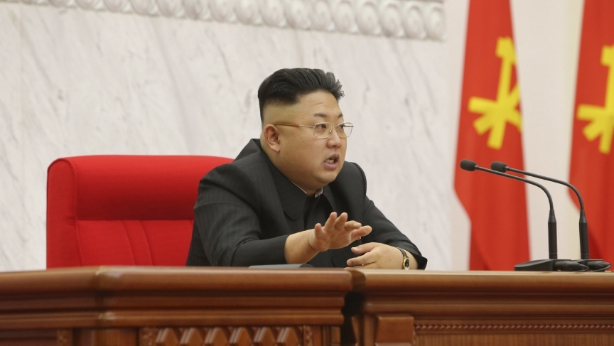 North Korean leader Kim Jong-un presides over a meeting of the Political Bureau of the Workers' Party of Korea's Central Committee in this undated photo released by North Korea's Korean Central News Agency (KCNA) in Pyongyang April 9, 2014.