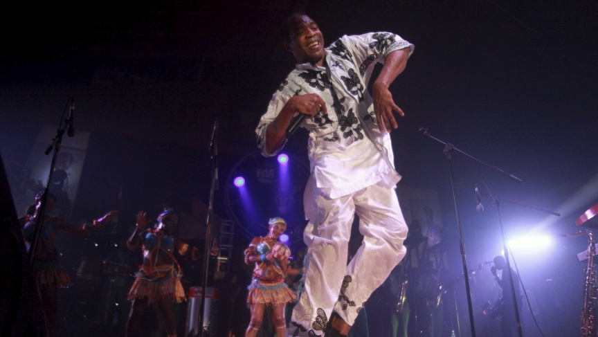 Musician Femi Kuti, son of Nigeria's music legend Fela Kuti, performs with his band at a night show marking the end of a week-long celebration honouring Fela, in Lagos October 22, 2012.