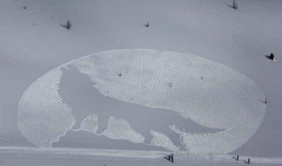 Simon Beck's snow art at Lake Louise, Alberta.