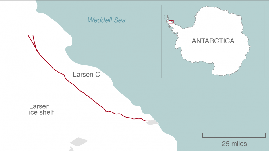 A 110-mile crack in the Larsen Ice Shelf is shown in this map. A branch has appeared to the right of the rift.