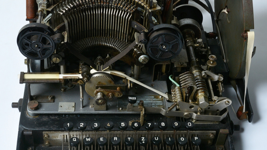 The Lorenz teleprinter which was found languishing in a shed in England. The National Museum  of Computing at Bletchley Park bought it for $14