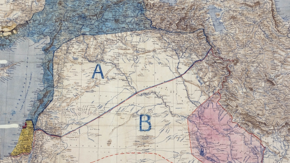 Map of Sykes-Picot Agreement. Royal Geographical Society, 1910-1915. Signed by Mark Sykes and Francois Georges-Picot, 8 May 1916.