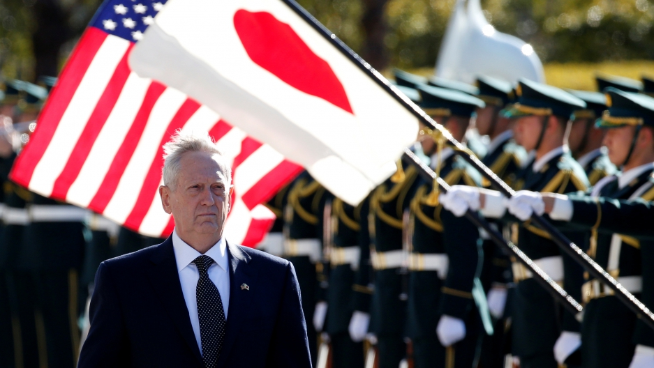 US Defense Secretary Jim Mattis reviews the honor guard