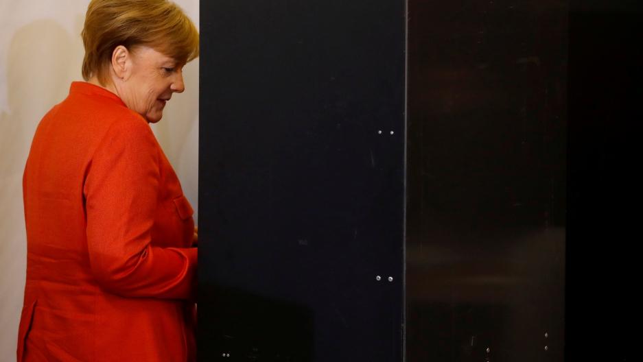 German Chancellor and leader of the Christian Democratic Union CDU Angela Merkel votes