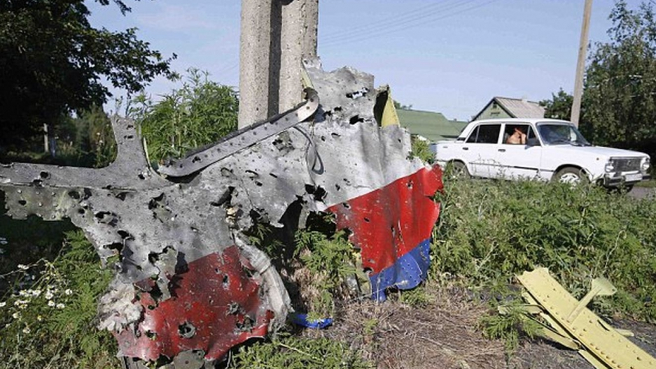 A piece of the plane wreckage of the Malaysia Airlines Flight MH17 near the Ukrainian village of Petropavlivka.