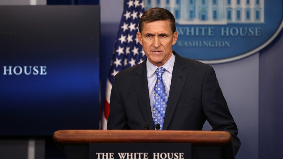 National Security Adviser Michael Flynn delivers a daily briefing at the White House, Feb. 1, 2017.