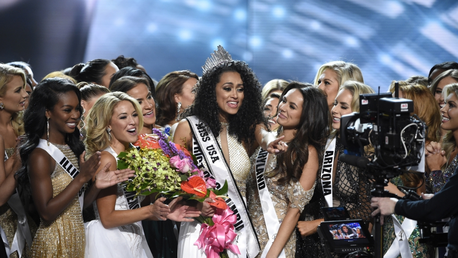 Miss District of Columbia Kara McCullough reacts after being crowned 2017 Miss USA.