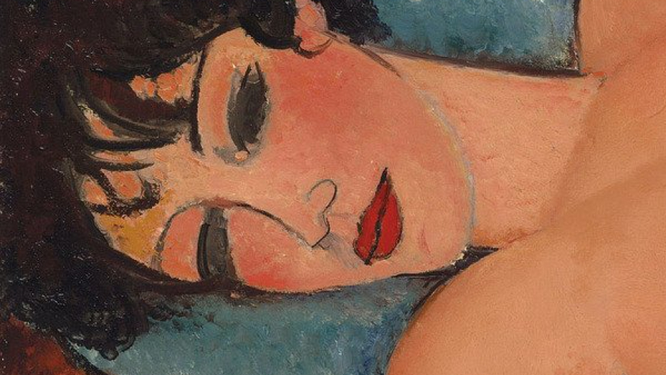A closeup on 'Nu Couche' by Amedeo Modigliani.